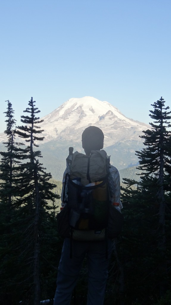 Ashe in front of Mt. Rainier